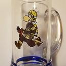 Hasičský korbel 1 litr skleněný - tuplák hasič s hadicí