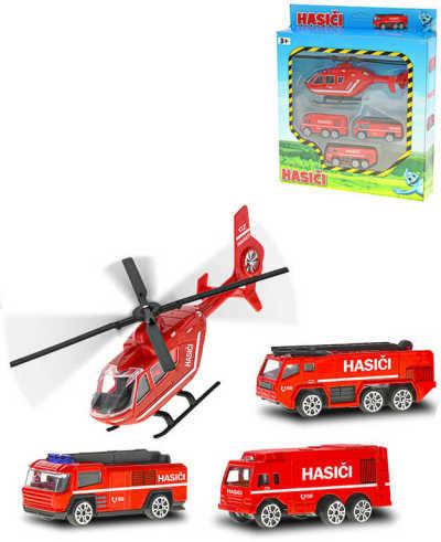 Auto hasičské 7cm set 3ks + vrtulník 17cm na volný chod kov