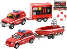 Auta kovová hasičská 13cm 2ks set s přívěsem a doplňky na baterie, světlo a zvuk