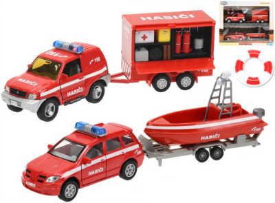 Auta kovová hasičská 13cm 2ks set s přívěsem a doplňky na baterie Světlo Zvuk