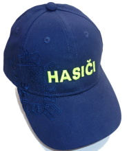 Čepice kšiltovka s nápisem HASIČI + logo, modrá