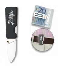 Černý nůž s hasičem a sponou na bankovky
