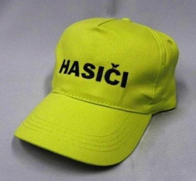 Dětská žlutozelená čepice s výšivkou HASIČI
