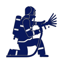 Samolepka na auto - klečící hasič černá