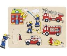 Dřevěné puzzle hasiči s úchytkami