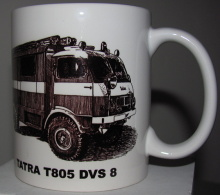 Hrnek keramický - motiv hasičské techniky - DOPRODEJ
