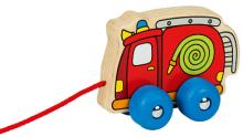 Tahací dřevěné hasičské autíčko na provázku