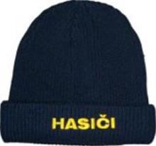 Čepice, pletený kulich s nápisem HASIČI.jpg