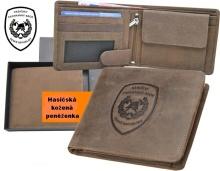 Hasičská kožená peněženka podélná s PROFI ZNAKEM