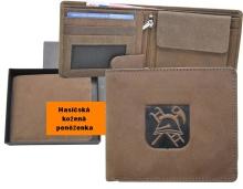 Hasičská kožená peněženka motiv- znak helma