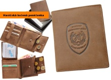 Hasičská kožená peněženka svislá s PROFI ZNAKEM