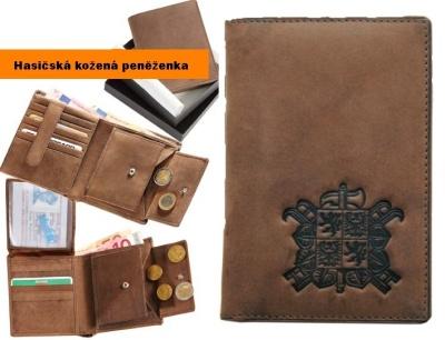 Hasičská kožená peněženka svislá motiv- HZS znak