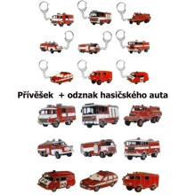 Přívěšek + odznak hasičského auta