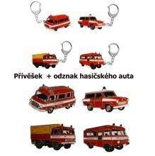 Přívěšek + odznak hasičská auta Feuerwehr