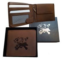 Hasičská kožená peněženka podélná s přilbou