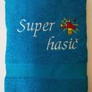 Hasičská luxusní bavlněná osuška Super hasič tyrkysová