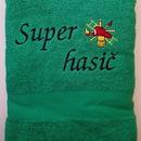 Hasičská luxusní bavlněná osuška Super hasič zelená