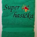 Hasičská luxusní bavlněná osuška Super hasička zelená