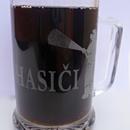 Hasičský skleněný půllitr s nápisem