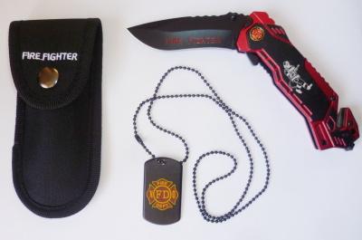 Nůž zavírací - záchranářský s obrázkem hasiče obr.1