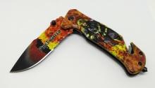 Polovystřelovací nůž zavírací záchranářský s hasičem nastevřený