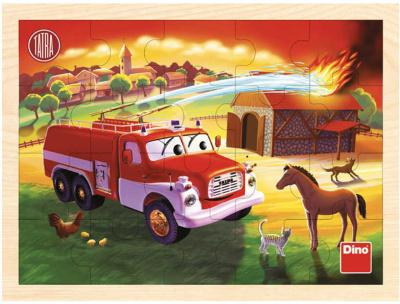 Puzzle dřevěné deskové Tatra hasiči 20 dílků skládačka v rámečku