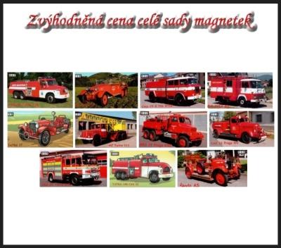 Sada magnetů hasičských autíček - sada 2
