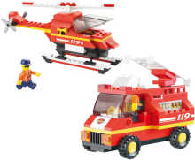 Stavebnice HASIČI hasičské auto a vrtulník 211 dílků + 3 figurky plast