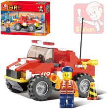 Stavebnice HASIČI mini požární vůz set 118 dílků + 1 figurka plast