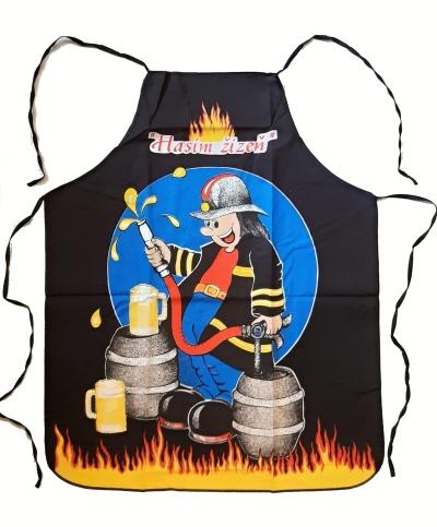 Kuchyňská bavlněná zástěra s hasičem