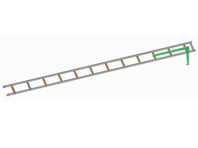 Žebřík hákový pro požární sport-s oválnými štěříny a hliníkovým hákem přes 3 příčky - obrázek 1 z 3