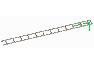 Žebřík hákový pro požární sport-s oválnými štěříny  a nerezovým hákem přes 3 příčky - obrázek 1 z 3