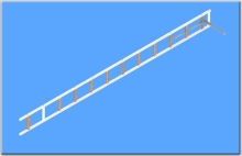 Žebřík hákový pro požární sport-s oválnými štěříny,vevařenými pouzdry a titanovým hákem přes 3 příčky - obr. 1 z 5